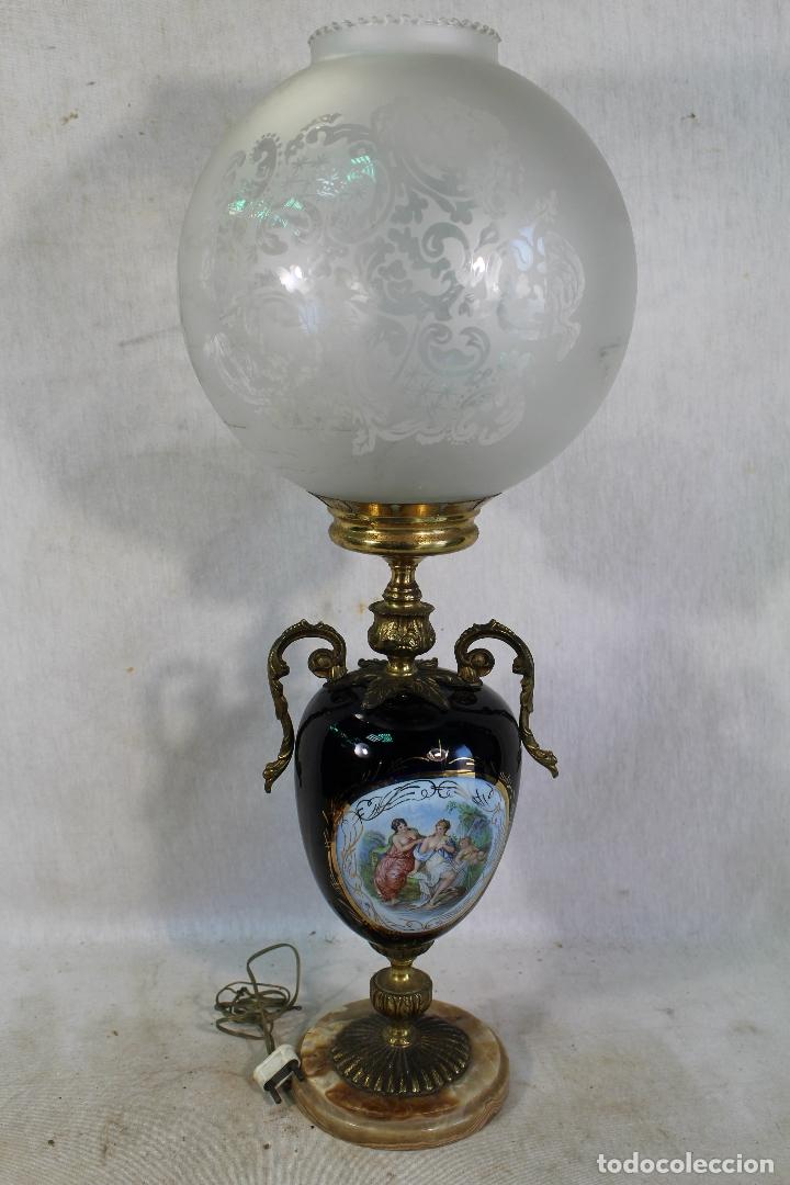 Antigüedades: lampara de sobremesa en bronce porcelana marmol y cristal - Foto 4 - 182558873