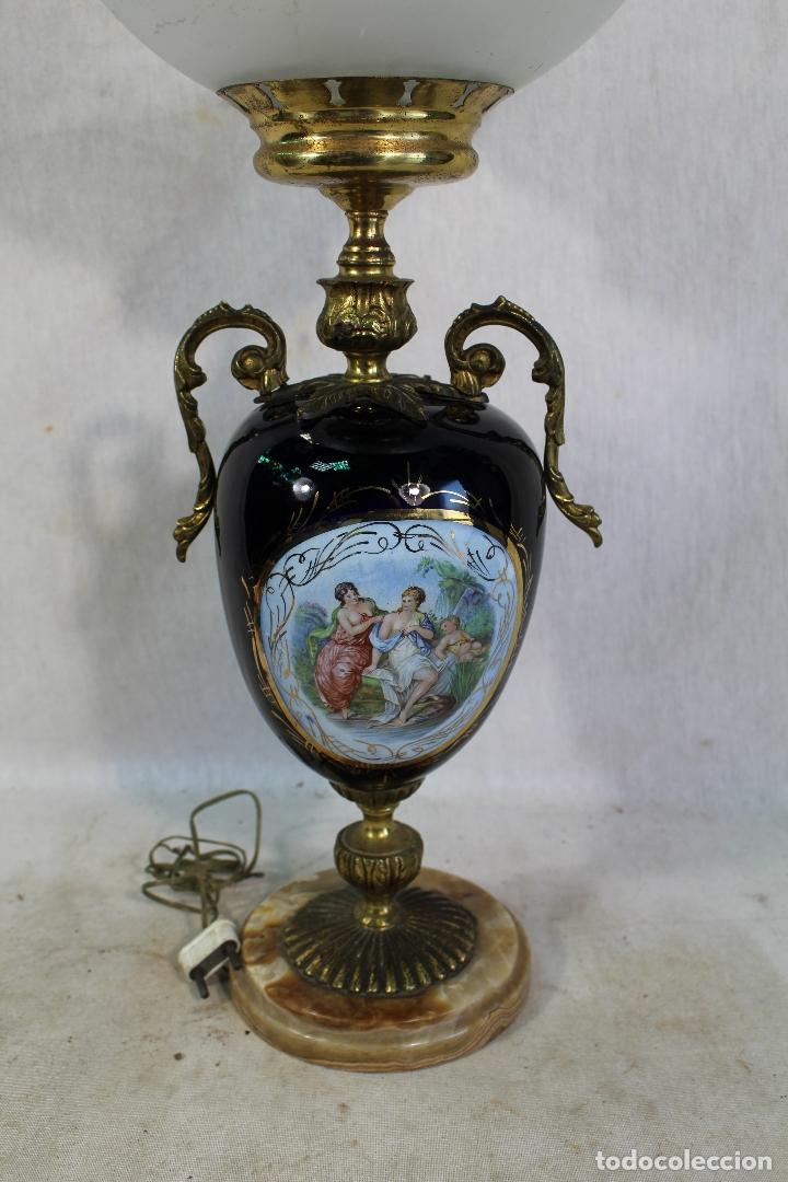 Antigüedades: lampara de sobremesa en bronce porcelana marmol y cristal - Foto 5 - 182558873