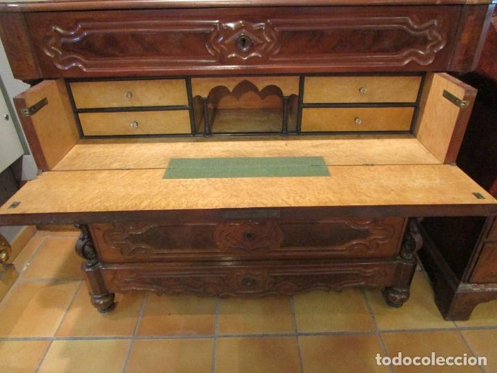 Antigüedades: Cómoda Escritorio Isabelina (Ditada) - Madera de Caoba - Escritorio en Limoncillo - S. XIX - Foto 2 - 182563771