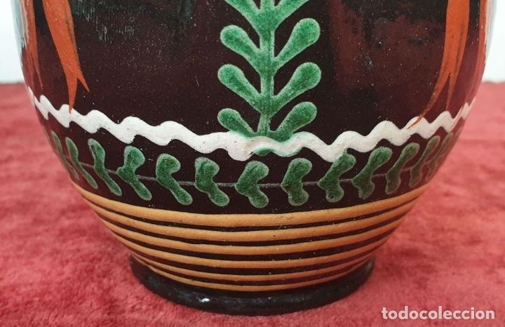 Antigüedades: JARRA DE CERÁMICA CATALANA. ESMALTADA Y PINTADA A MANO. SIGLO XX. - Foto 5 - 182565055