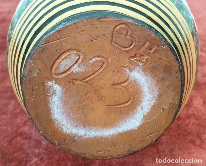 Antigüedades: JARRA DE CERÁMICA CATALANA. ESMALTADA Y PINTADA A MANO. SIGLO XX. - Foto 6 - 182565055