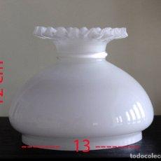 Antigüedades: TULIPA DE OPALINA BLANCA TIPO QUINQUÉ BORDES RIZADOS. Lote 182599957