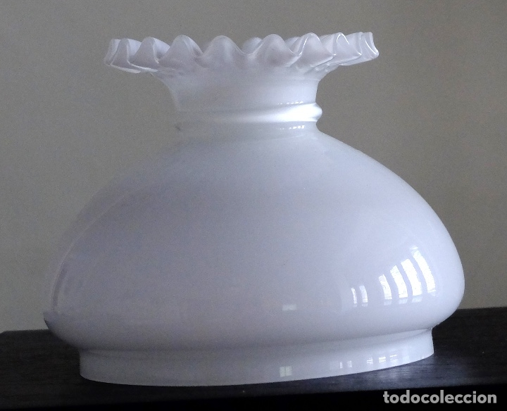 Antigüedades: TULIPA DE OPALINA BLANCA TIPO QUINQUÉ BORDES RIZADOS - Foto 4 - 182599957