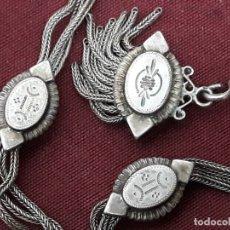 Oggetti Antichi: LEONTINA... CADENA DE RELOJ DE 3 CORDONES CON LLAVE DE CUERDA ... XIX. Lote 182614213