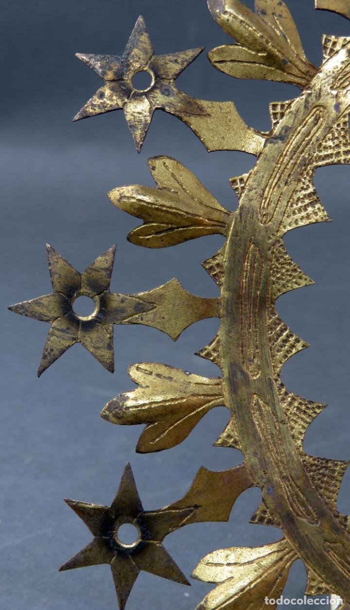 Antigüedades: Resplandor para talla Virgen Inmaculada en bronce dorado del siglo XIX - Foto 2 - 182614720