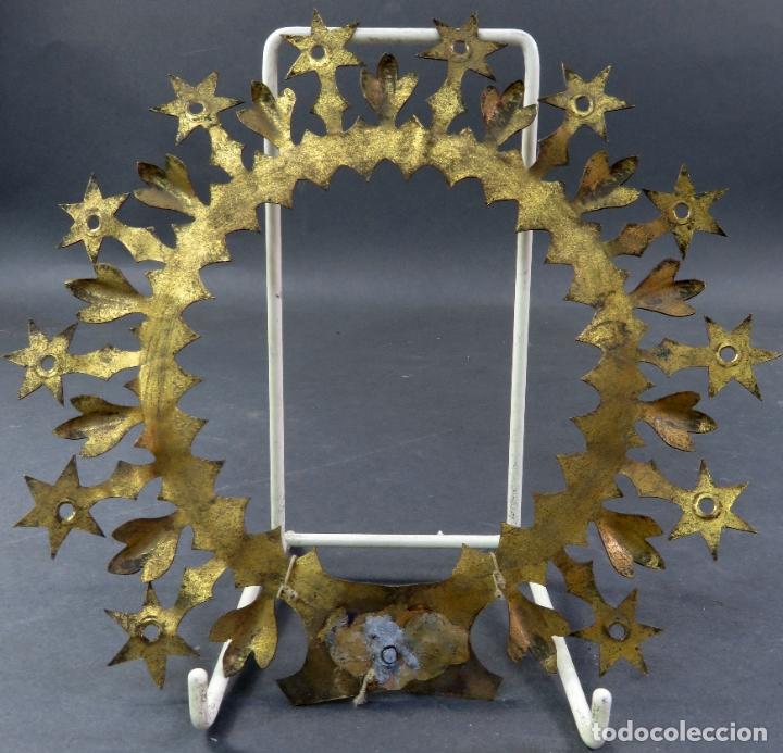 Antigüedades: Resplandor para talla Virgen Inmaculada en bronce dorado del siglo XIX - Foto 3 - 182614720