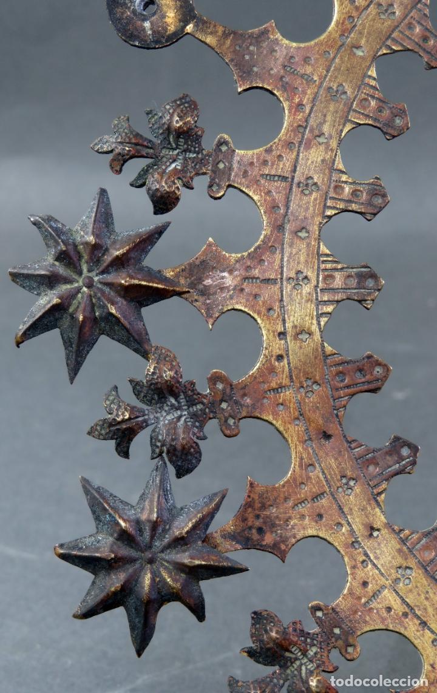 Antigüedades: Resplandor para talla Virgen Inmaculada en bronce dorado del siglo XIX - Foto 2 - 182615361
