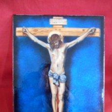 Antigüedades: PRECIOSO ESMALTE SOBRE CHAPA DE JESUCRISTO CRUCIFICADO REPLICA DEL CRISTO DE VELAZQUEZ. Lote 182617748