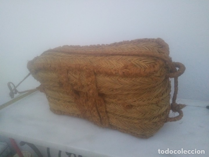 Antigüedades: Antigua cesta bolso de ESPARTO para fruta tienda agricultura ecológica hecha por espartero artesano - Foto 3 - 182621786