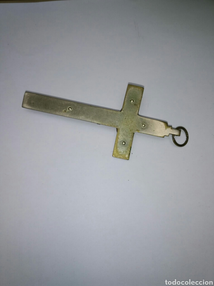 Antigüedades: Cruz crucifijo pectoral sacerdotal bronce y caoba años 30 - Foto 2 - 182641760