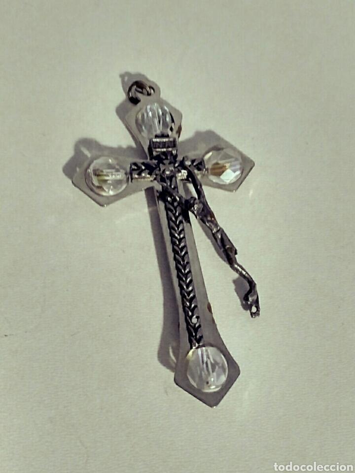 Antigüedades: Cruz crucifijo rosario - plata y cristal de roca - Roma - Foto 5 - 182644425
