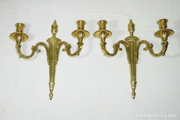 PAREJA DE APLIQUES EN BRONCE PULIDO (Antigüedades - Iluminación - Apliques Antiguos)