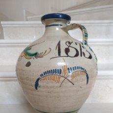 Antigüedades: MAGNIFICO CANTARO EN CERAMICA DE PUENTE DEL ARZOBISPO,(TOLEDO),FECHADO AÑO DE 1873. Lote 182665417