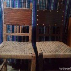 Antigüedades: DOS SILLAS DE ANEA CON CLAVOS DECORADOS. Lote 182688086