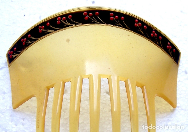 Antigüedades: Peineta para el cabello en celuloide con borde de flores pintadas - Foto 2 - 182695465