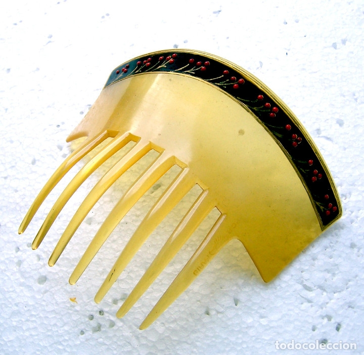 Antigüedades: Peineta para el cabello en celuloide con borde de flores pintadas - Foto 5 - 182695465