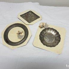 Antigüedades: CENICEROS PLATA SIN LIMPIAR. Lote 182716200