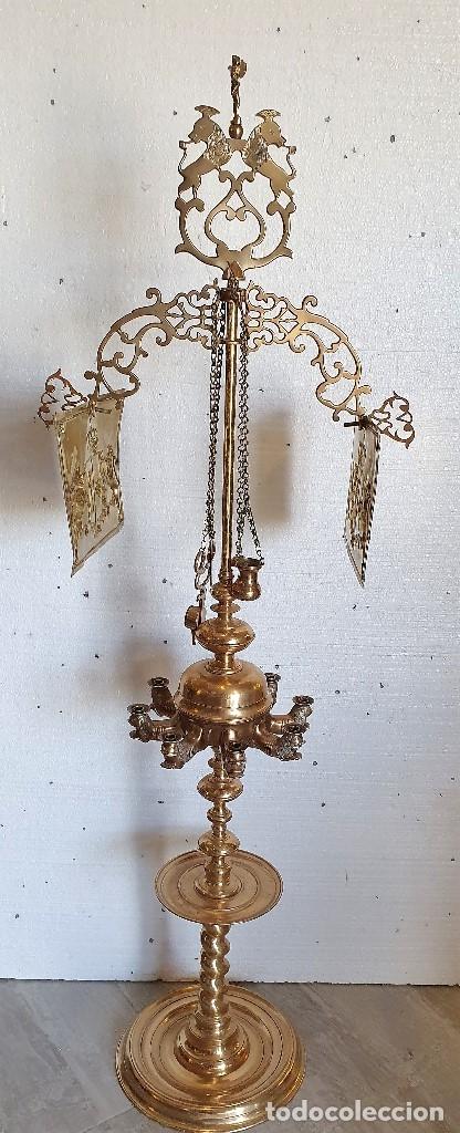 GRAN LAMPARA DE ACEITE 150 CM (Antigüedades - Iluminación - Lámparas Antiguas)