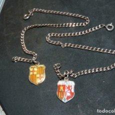 Antigüedades: RARAS PULSERAS ESCUDO ESMALTADO ESPAÑA BARCELONA REPUBLICANO SIN CORONA NI BLASON PLATA 916 Y 800. Lote 182725886