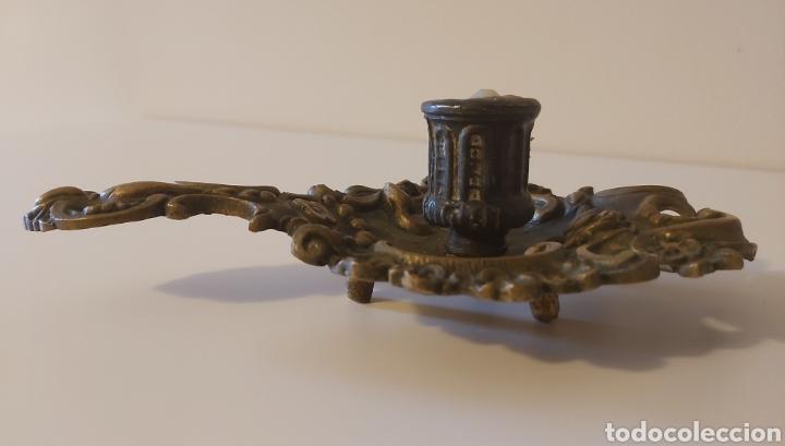 Antigüedades: Potavelas palmatoria bronce - Foto 3 - 182747346