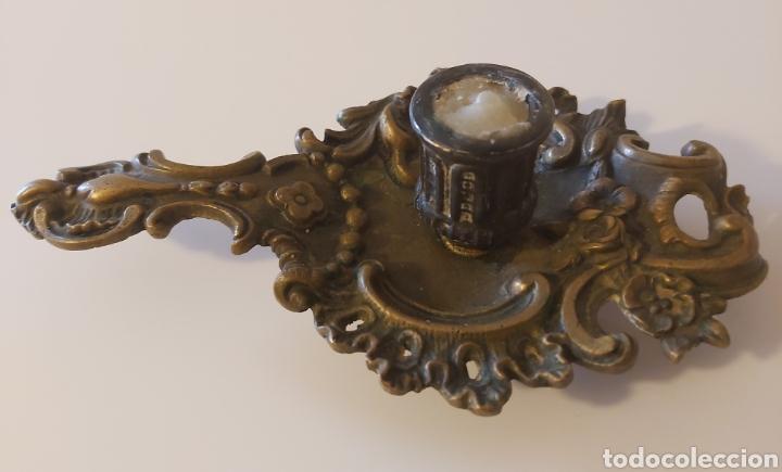 Antigüedades: Potavelas palmatoria bronce - Foto 4 - 182747346