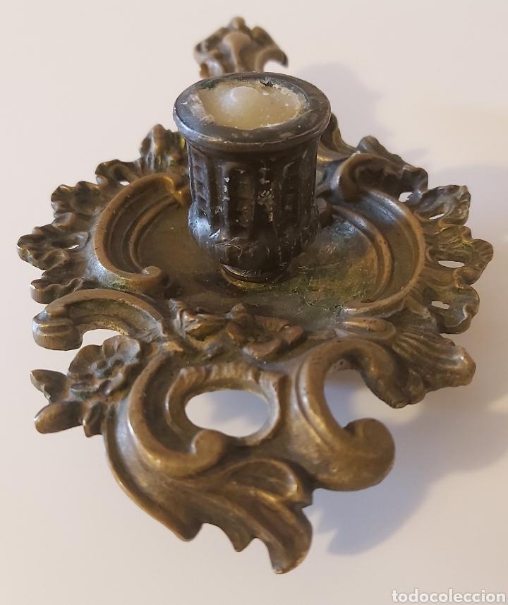 POTAVELAS PALMATORIA BRONCE (Antigüedades - Iluminación - Candelabros Antiguos)