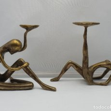 Antigüedades: MAGNÍFICO JUEGO DE CANDELABROS ANTIGUOS DE DISEÑO MODERNISTA EN BRONCE MACIZO .. Lote 182753540