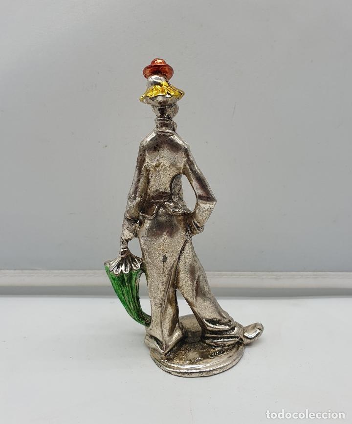 Antigüedades: Bella figura vintage de payaso laminado en plata de ley, con detalles esmaltados, firmado . - Foto 4 - 182764575