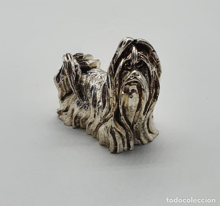 Antigüedades: Bella figura vintage de perro yorkshire laminado en plata de ley . - Foto 5 - 182765166