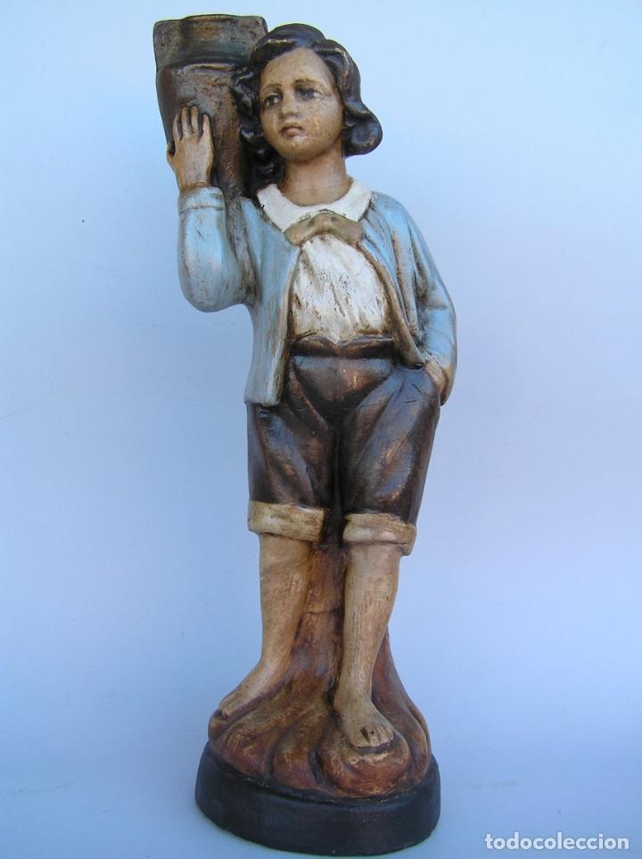 Antigüedades: Figura cuento La Lechera. Estuco policromado.Siglo XIX. ·34 cm. - Foto 2 - 182767270