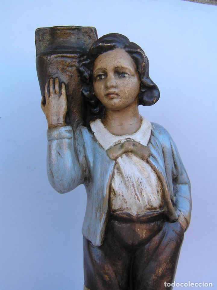 Antigüedades: Figura cuento La Lechera. Estuco policromado.Siglo XIX. ·34 cm. - Foto 3 - 182767270