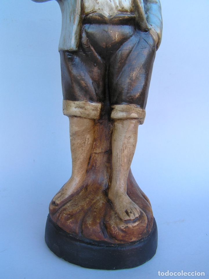 Antigüedades: Figura cuento La Lechera. Estuco policromado.Siglo XIX. ·34 cm. - Foto 4 - 182767270