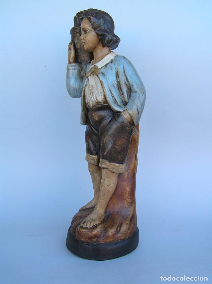 Antigüedades: Figura cuento La Lechera. Estuco policromado.Siglo XIX. ·34 cm. - Foto 5 - 182767270