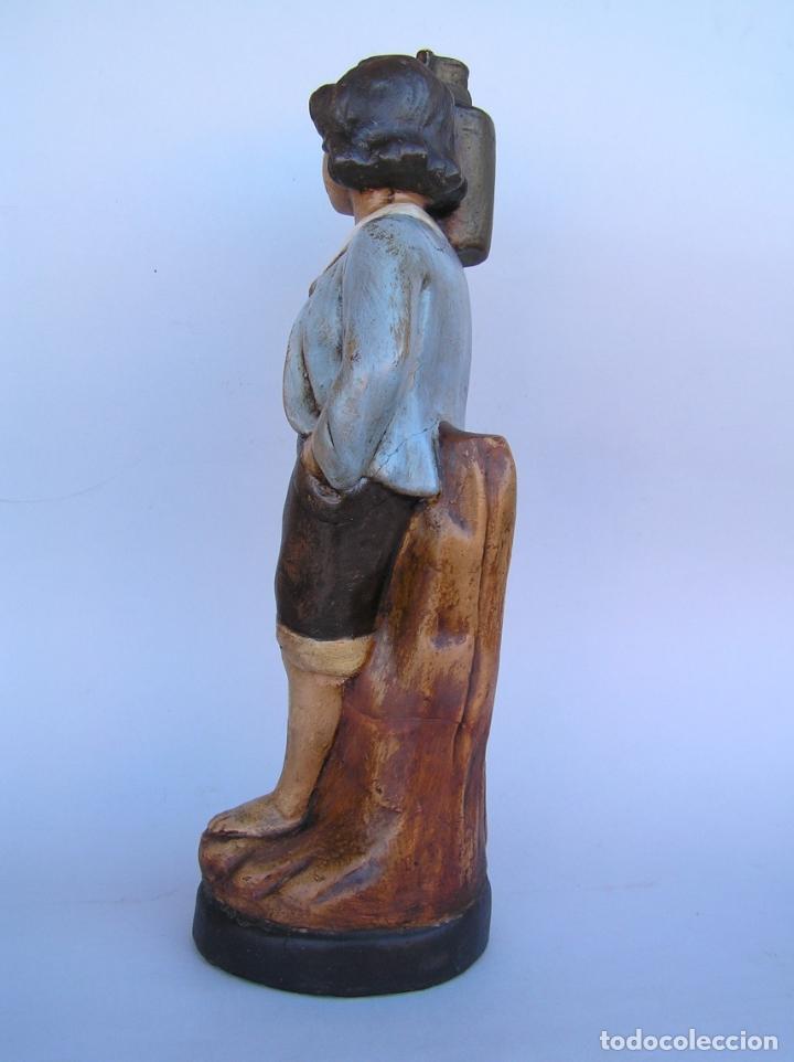 Antigüedades: Figura cuento La Lechera. Estuco policromado.Siglo XIX. ·34 cm. - Foto 7 - 182767270