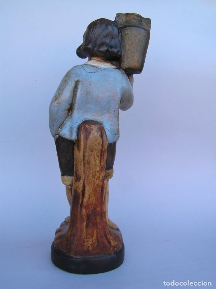 Antigüedades: Figura cuento La Lechera. Estuco policromado.Siglo XIX. ·34 cm. - Foto 8 - 182767270