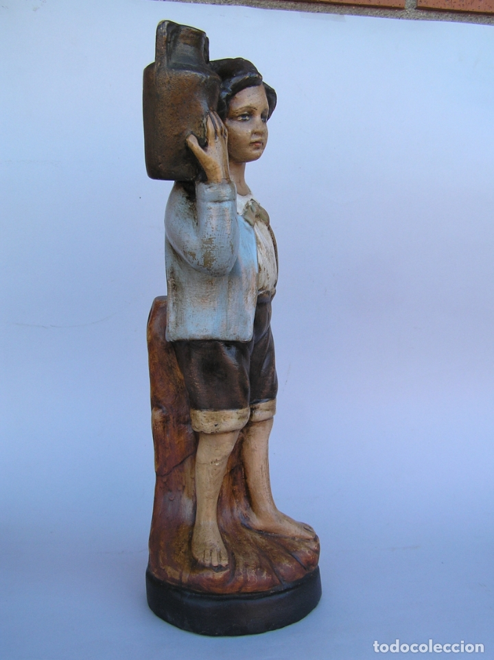Antigüedades: Figura cuento La Lechera. Estuco policromado.Siglo XIX. ·34 cm. - Foto 10 - 182767270