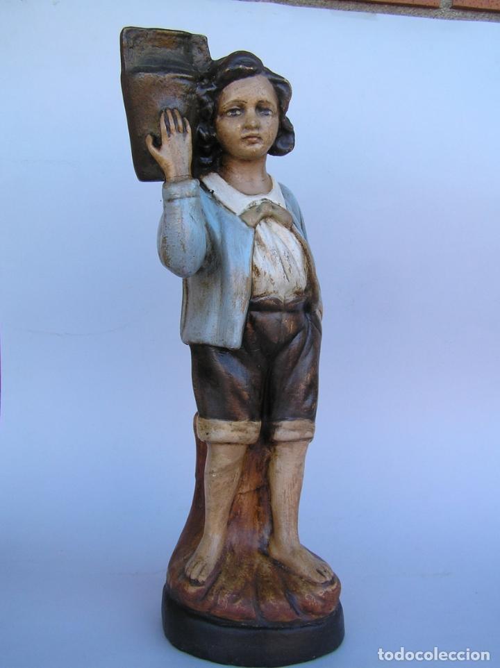 Antigüedades: Figura cuento La Lechera. Estuco policromado.Siglo XIX. ·34 cm. - Foto 11 - 182767270