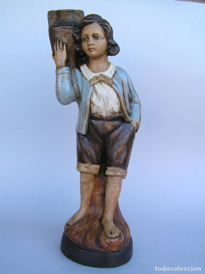 Antigüedades: Figura cuento La Lechera. Estuco policromado.Siglo XIX. ·34 cm. - Foto 12 - 182767270