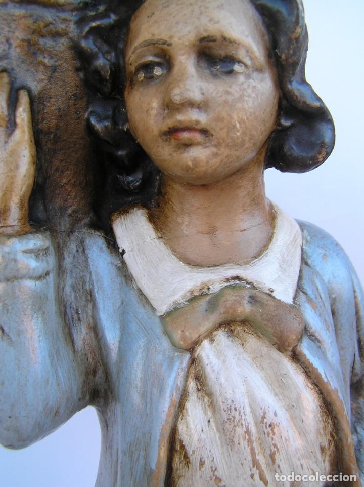 Antigüedades: Figura cuento La Lechera. Estuco policromado.Siglo XIX. ·34 cm. - Foto 13 - 182767270