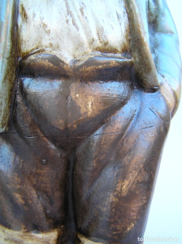 Antigüedades: Figura cuento La Lechera. Estuco policromado.Siglo XIX. ·34 cm. - Foto 14 - 182767270