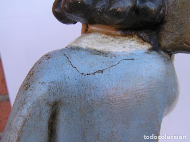Antigüedades: Figura cuento La Lechera. Estuco policromado.Siglo XIX. ·34 cm. - Foto 17 - 182767270