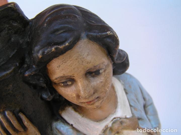Antigüedades: Figura cuento La Lechera. Estuco policromado.Siglo XIX. ·34 cm. - Foto 20 - 182767270