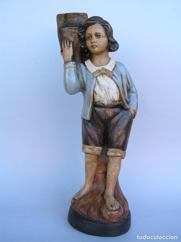 FIGURA CUENTO LA LECHERA. ESTUCO POLICROMADO.SIGLO XIX. ·34 CM. (Antigüedades - Hogar y Decoración - Figuras Antiguas)