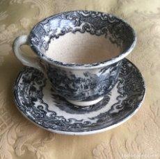 Antigüedades: ANTIGUA TAZA DE CAFÉ Y PLATO DE CARTUJA DE SEVILLA PICKMAN VISTAS NEGRO. Lote 182768291