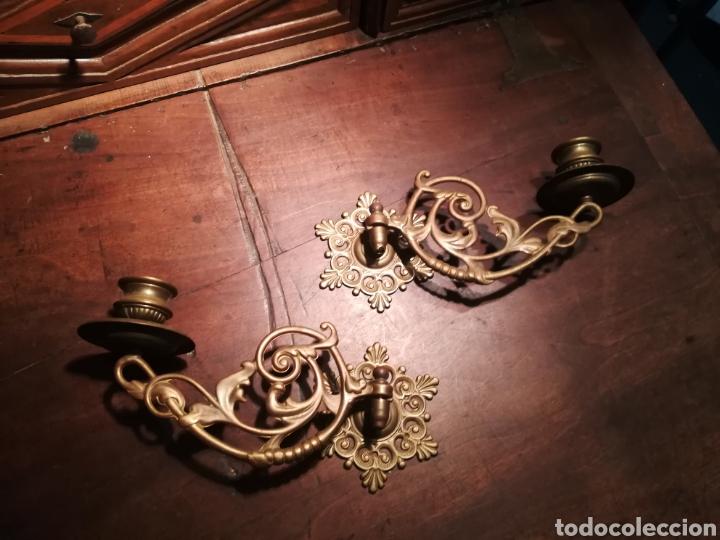 PAREJA DE CANDELABROS DE BRONCE PARA PIANO (Antigüedades - Iluminación - Candelabros Antiguos)