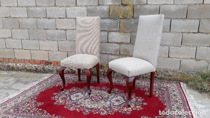 Antigüedades: 2 dos sillas antiguas respaldo alto. Silla antigua respaldo alto. Silla antigua vintage. - Foto 2 - 182814216