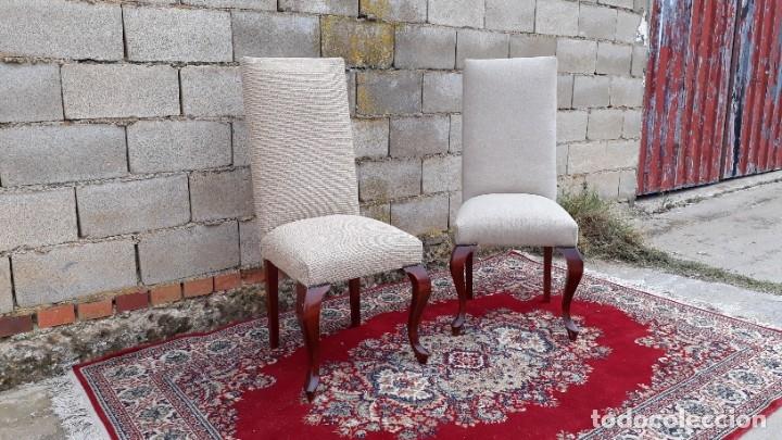 Antigüedades: 2 dos sillas antiguas respaldo alto. Silla antigua respaldo alto. Silla antigua vintage. - Foto 3 - 182814216