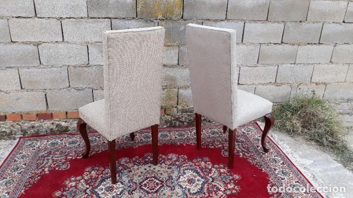 Antigüedades: 2 dos sillas antiguas respaldo alto. Silla antigua respaldo alto. Silla antigua vintage. - Foto 4 - 182814216
