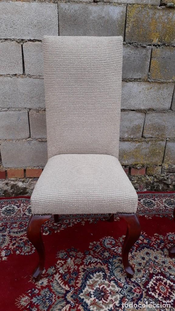 Antigüedades: 2 dos sillas antiguas respaldo alto. Silla antigua respaldo alto. Silla antigua vintage. - Foto 5 - 182814216