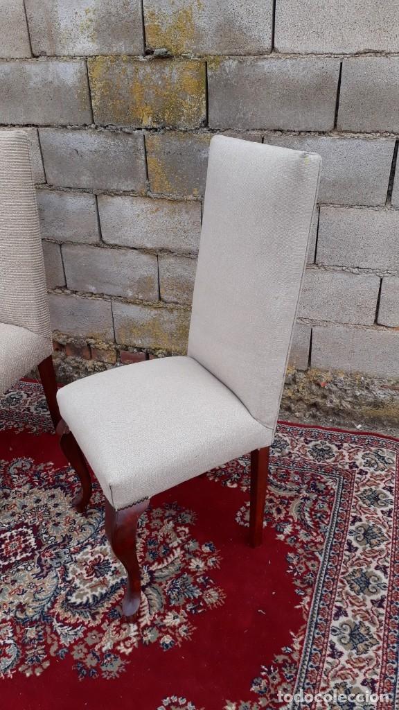 Antigüedades: 2 dos sillas antiguas respaldo alto. Silla antigua respaldo alto. Silla antigua vintage. - Foto 7 - 182814216